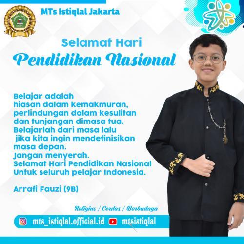 Hari Pendidikan Nasional - Madrasah Tsanawiyah Istiqlal Jakarta Arrafi Fauzy